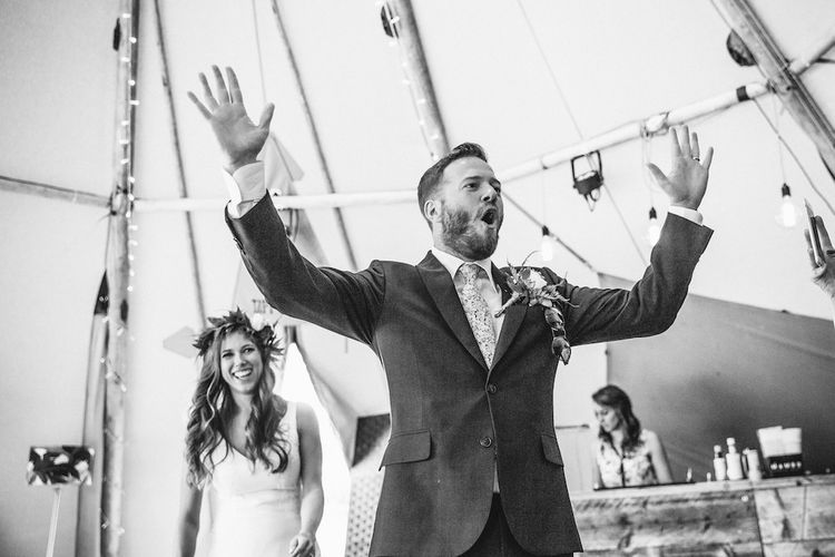 Speeches | Bride in La Sposa Gown from Mirror Mirror Bridal | Groom in Paul Smith Suit | Outdoor Wedding Ceremony & Tipi Reception Planned by Benessamy Events | Red on Blonde Photography