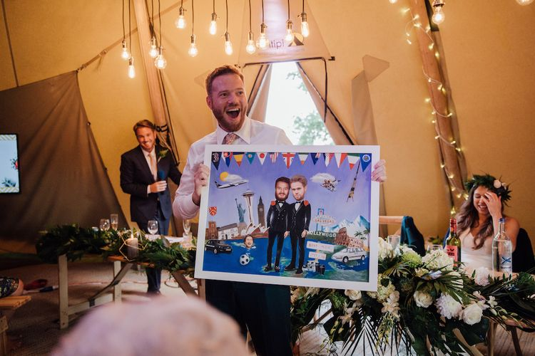 Speeches | Groom in Paul Smith Suit | Outdoor Wedding Ceremony & Tipi Reception Planned by Benessamy Events | Red on Blonde Photography