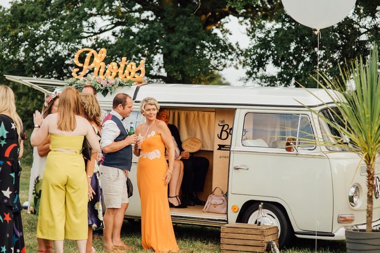 Camper Van Photo Booth | Outdoor Wedding Ceremony & Tipi Reception Planned by Benessamy Events | Red on Blonde Photography