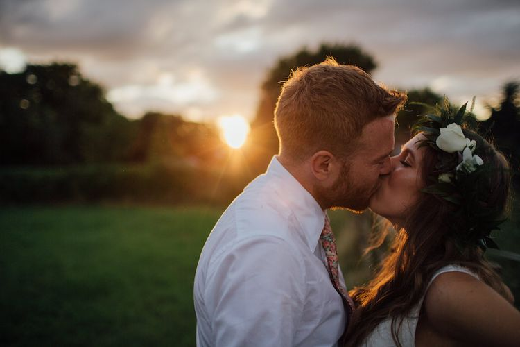 Golden Hour | Bride in La Sposa Gown from Mirror Mirror Bridal | Groom in Paul Smith Suit | Outdoor Wedding Ceremony & Tipi Reception Planned by Benessamy Events | Red on Blonde Photography