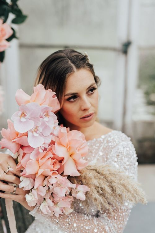 Romantic blush pink and dried grass wedding bouquet