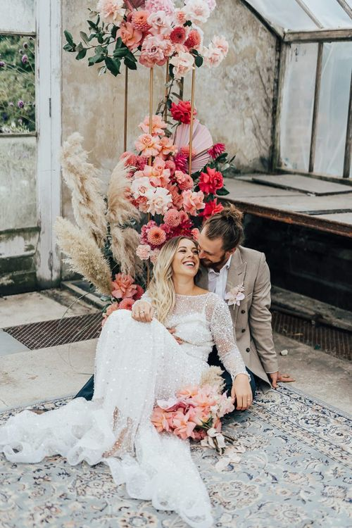 Relaxed bride and groom portrait by Rebecca Carpenter Photography