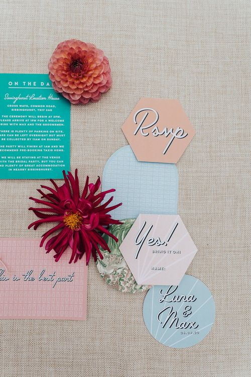 Wedding stationery suit for wedding inspiration with pink colour scheme