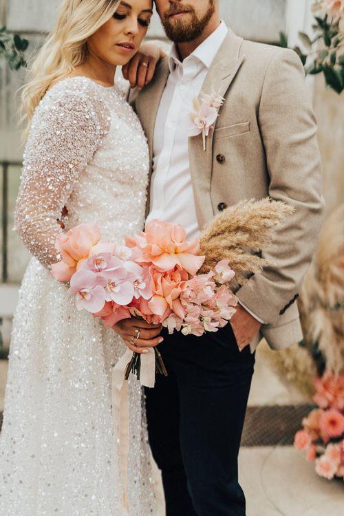 Blush pink and peach tropical wedding bouquet