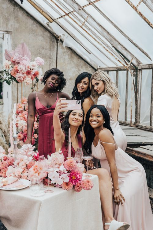 Girl squad self at wedding with pink colour scheme