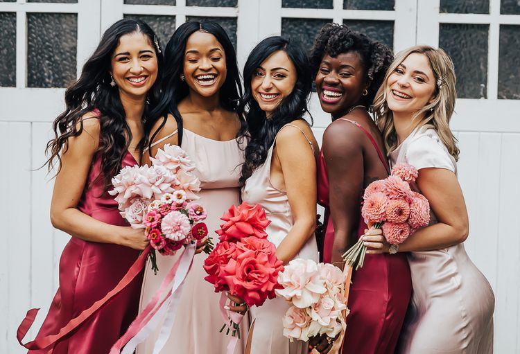 Bridesmaids for wedding with pink colour scheme