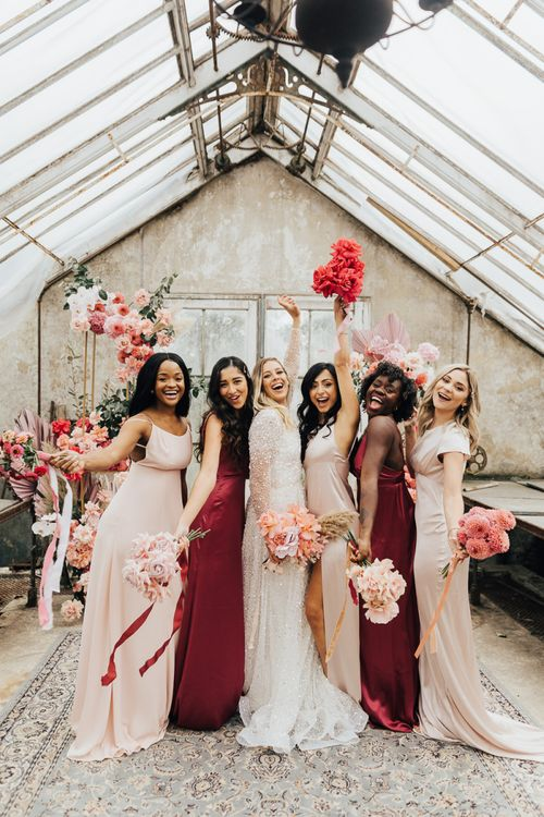 bridal party portrait for intimate wedding with pink colour scheme