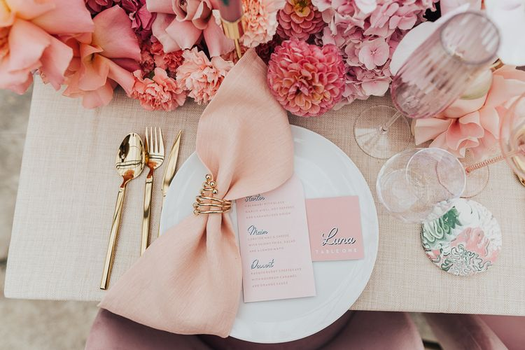 Table setting with Menu and name place card