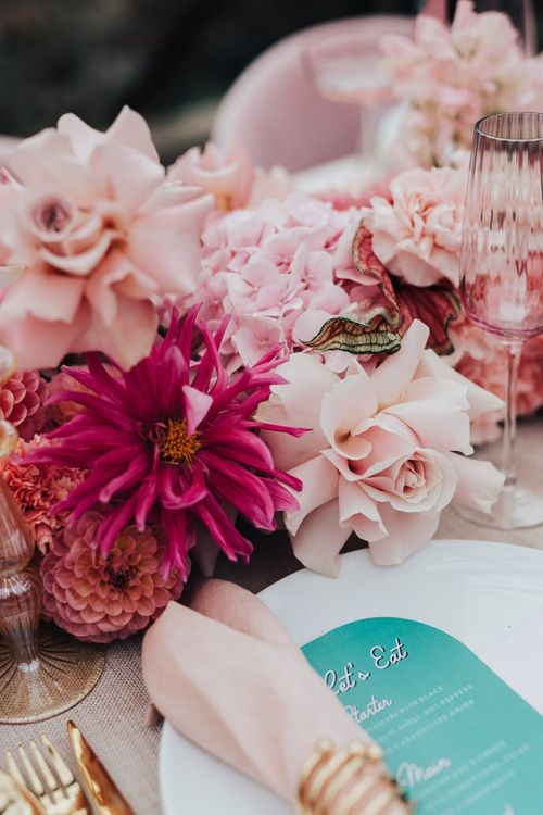 intimate tablescape for wedding with pink colour scheme