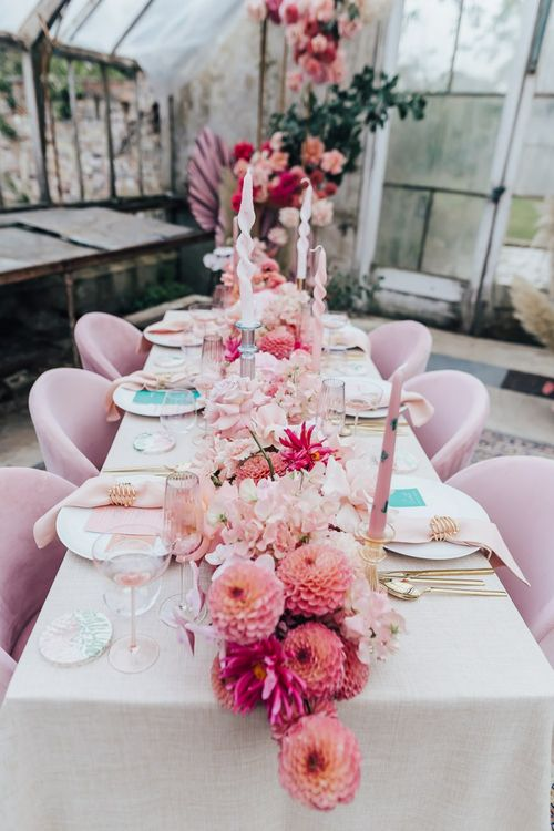Intimate wedding reception table setting