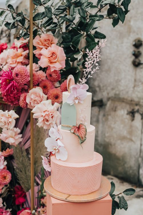 Ombre buttercream wedding cake for intimate wedding with pink colour scheme