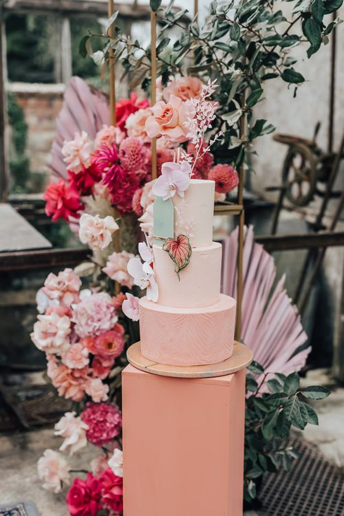 Stylish wedding cake by Sugarplum Bakes for intimate wedding with pink colour scheme