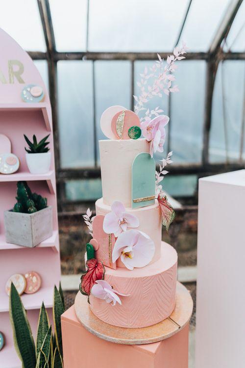 Buttercream wedding cake by Sugarplum Bakes for wedding with pink colour scheme
