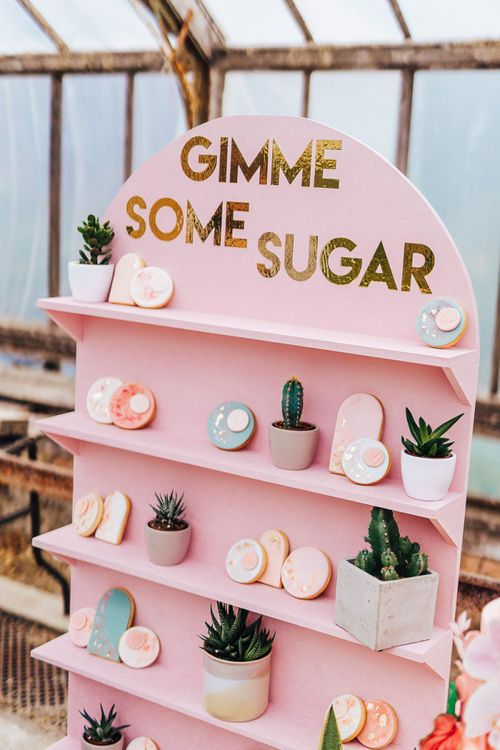 Cookie Bar for intimate wedding with pink colour scheme