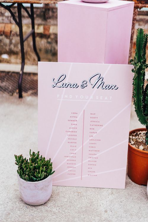 Intimate seating chart for wedding with pink colour scheme