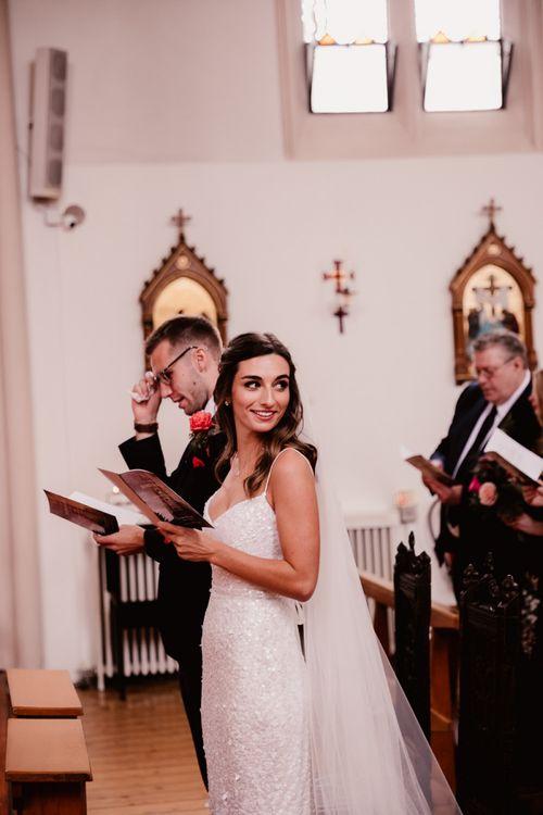 Bride During Wedding Ceremony Followed By Reception At Primrose Hill Farm