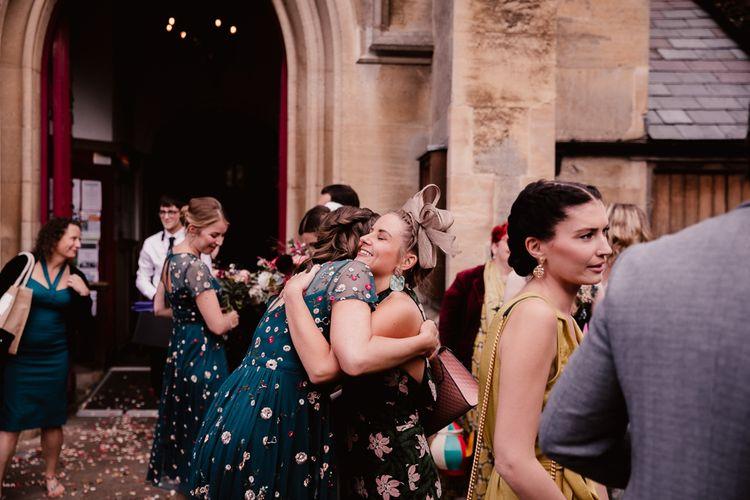 Bridesmaids Greet Guests For Primrose Hill Farm Wedding