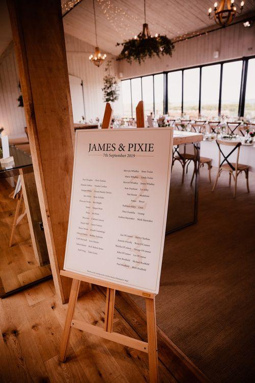 Wedding Table Seating Plan At Primrose Hill Farm Wedding Venue
