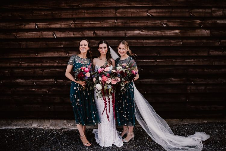Bridal Party With Pink Bouquets At Primrose Hill Farm Wedding Venue