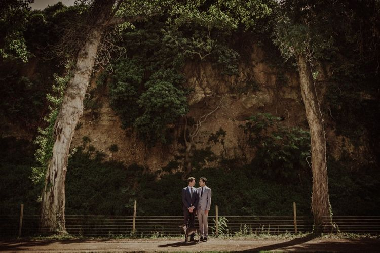 Two Grooms Portrait Picture | Woodland Wedding at Sa Farinera de Sant LLuis Wedding Venue, Catalan Empordà, Spain | Planned & Styled by Mille Papillons | HUMà06 Photography | HUMà06 Photography