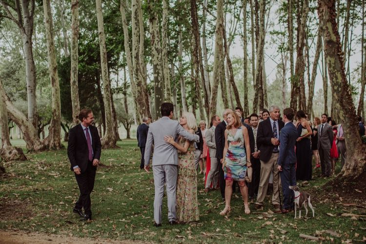 Wedding Guest Hugs | Outdoor Woodland Wedding at Sa Farinera de Sant LLuis Wedding Venue, Catalan Empordà, Spain | Planned & Styled by Mille Papillons | HUMà06 Photography | HUMà06 Photography
