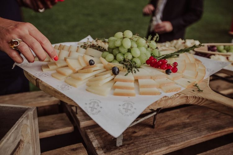 Cheese Platter Wedding Catering | Outdoor Woodland Wedding at Sa Farinera de Sant LLuis Wedding Venue, Catalan Empordà, Spain | Planned & Styled by Mille Papillons | HUMà06 Photography | HUMà06 Photography