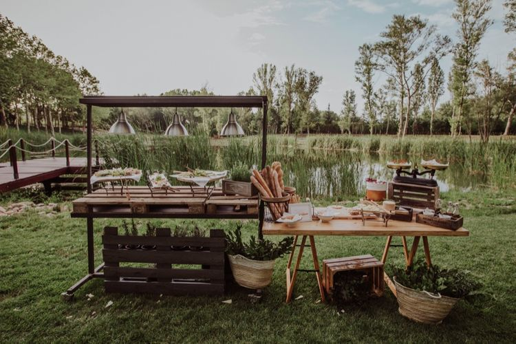 Artisan Food Station | Outdoor Woodland Wedding at Sa Farinera de Sant LLuis Wedding Venue, Catalan Empordà, Spain | Planned & Styled by Mille Papillons | HUMà06 Photography | HUMà06 Photography