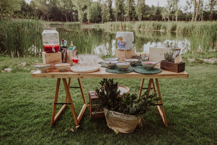 Drinks Station Wedding Decor | Outdoor Woodland Wedding at Sa Farinera de Sant LLuis Wedding Venue, Catalan Empordà, Spain | Planned & Styled by Mille Papillons | HUMà06 Photography | HUMà06 Photography