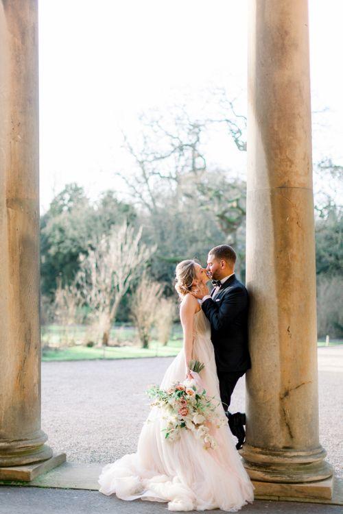 Bride and groom Prestwold Hall wedding portraits