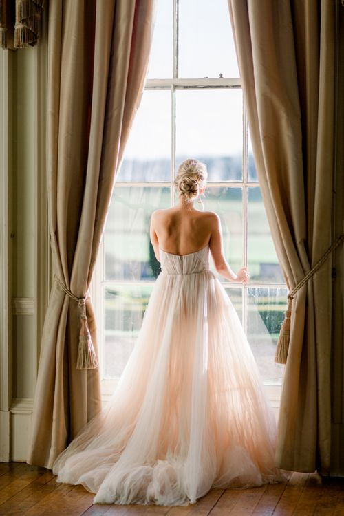 Bride with romantic bun up do