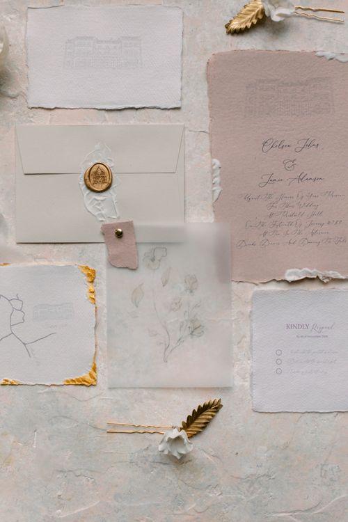 Elegant wedding stationery suite with vellum for Prestwold Hall wedding