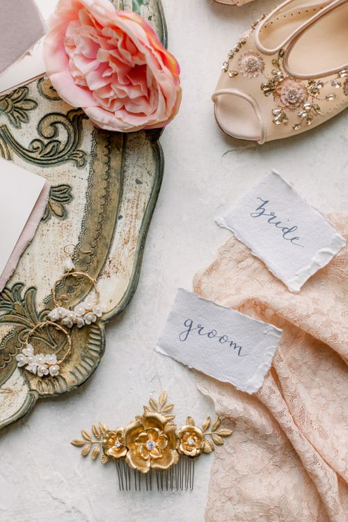 Bride and groom calligraphy name tags for Prestwold Hall wedding