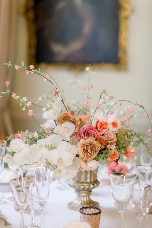Romantic rose and orchid centrepiece