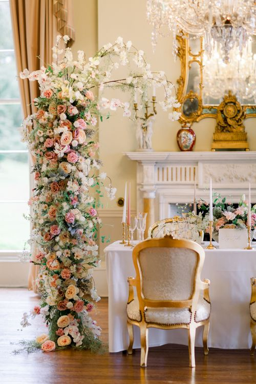 Top table wedding flowers and decor for stately home venue