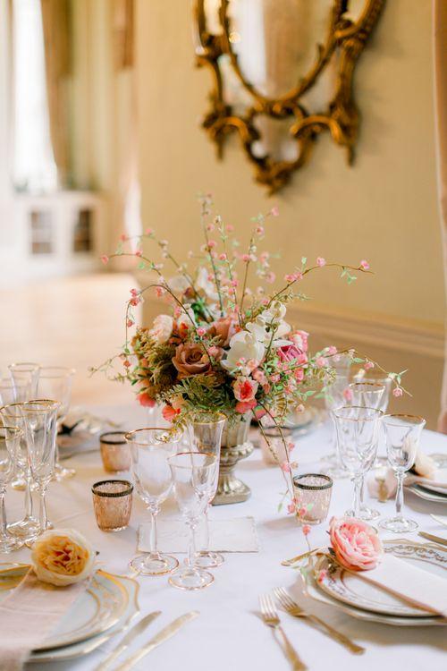 Romantic flower centrepiece reception decor