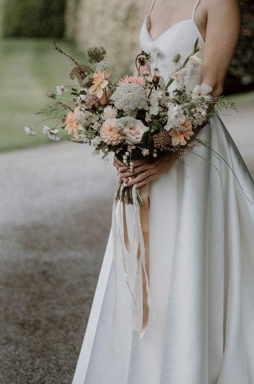 Peach and White Wild Flower Wedding Bouquet