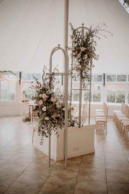Romantic Blush, White and Green Wedding Flower Arrangement