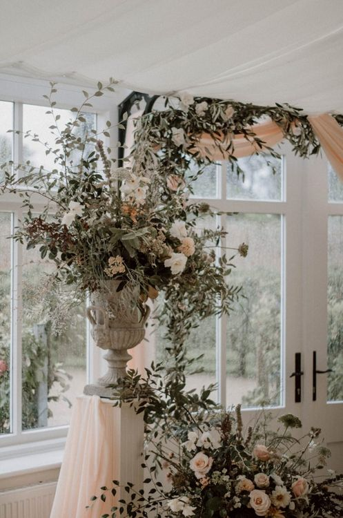 Romantic Green, Coral and White Wedding Flower Arrangements
