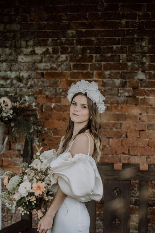 Beautiful Bride with Natural Makeup in White Headdress