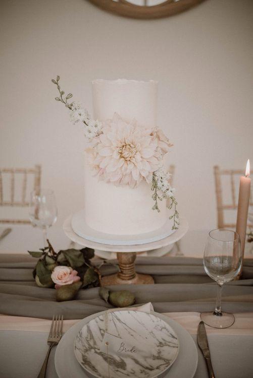 Elegant Two Tier Wedding Cake with Dahlia Flower Decor