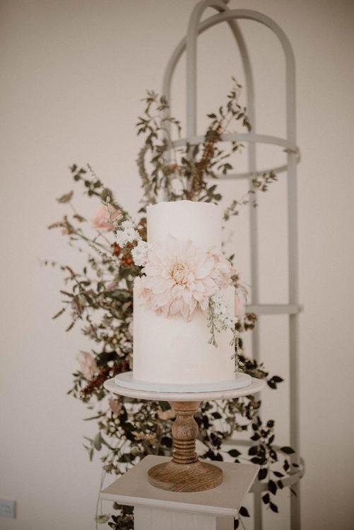 Two Tier Wedding Cake with Giant Dahlia Detail