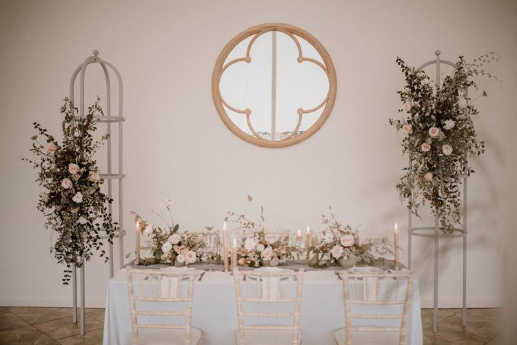 Pretty Tablescape with Blush Pink Candles and Flowers