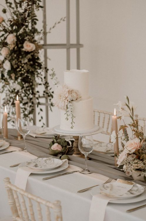 Pretty Grey, Pink and White Wedding Table Decor