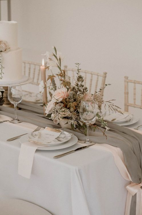 Wedding Floral Centrepiece and Grey Table Runner