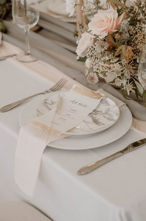 Menu Card and Marble Tableware Place Setting Decor