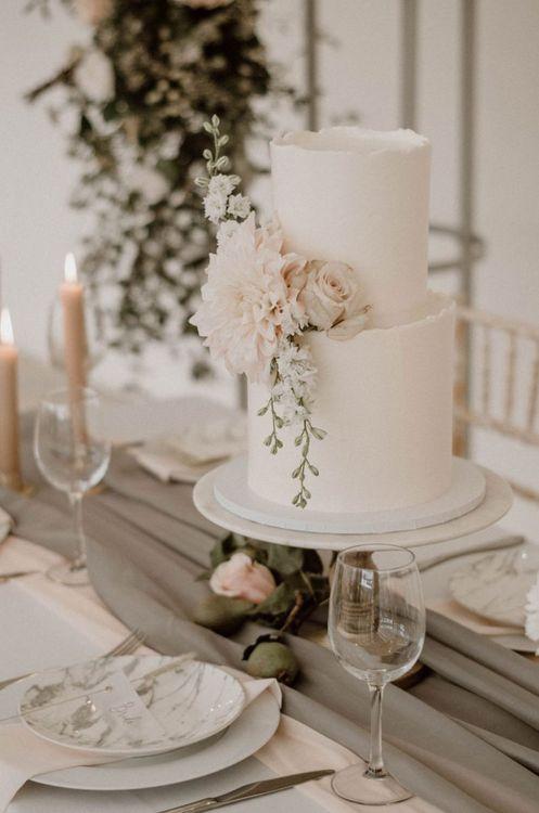 Elegant Two Tier Wedding Cake with Dahlia Decor