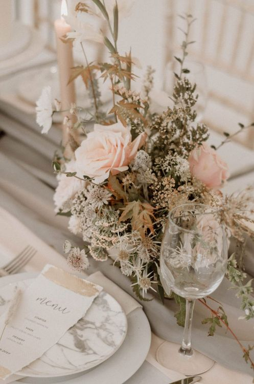 Pink Rose and Foliage Floral Centrepiece