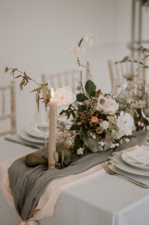 Pink and Grey Table Runners with Romantic Taper Candles and Floral Arrangement