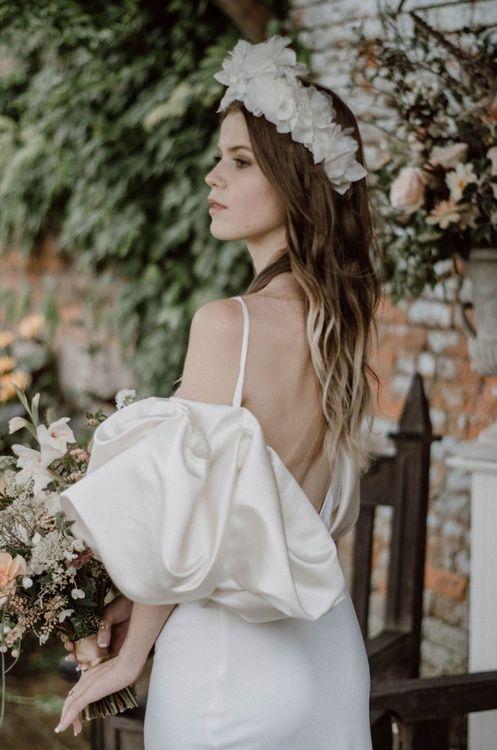Vanitas-Combermere791Stylish Bride in Puffed Sleeve Wedding Dress with White Headdress
