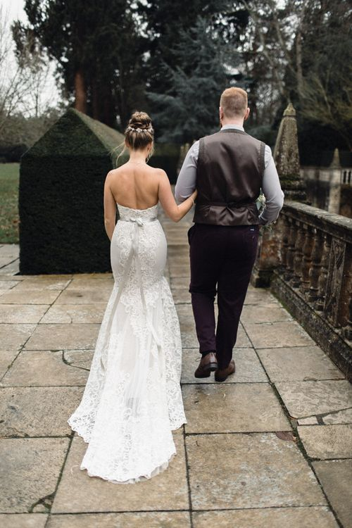 Bride In Alice Dress By Watters // Christmas Pub Wedding At The Falcon Rotherwick With Bride In Alice By Watters And Candle Lit Wedding Ceremony Images By Rebecca Searle Photography